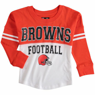 5th   Ocean by New Era Cleveland Browns Girls Youth White Orange Varsity  Long b27ebd2e2