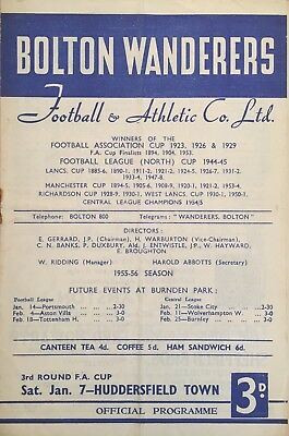 Bolton Wanderers v Huddersfield Town  F A Cup  1955/56