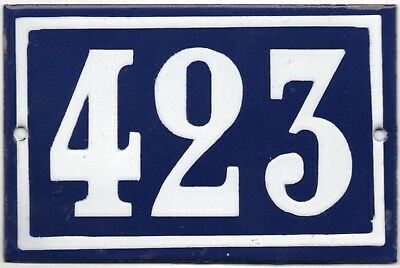 Old blue French house number 423 door gate plate plaque enamel steel metal sign