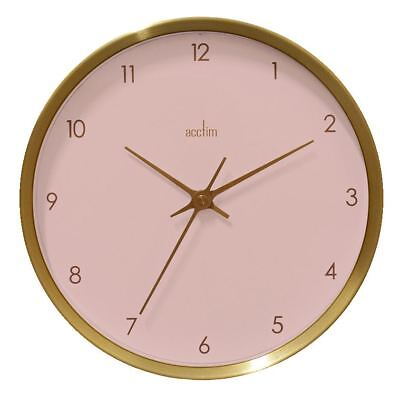 Eadie Design Brushed Gold Effect Wall Clock Pale Pink Dial 25cm by Acctim