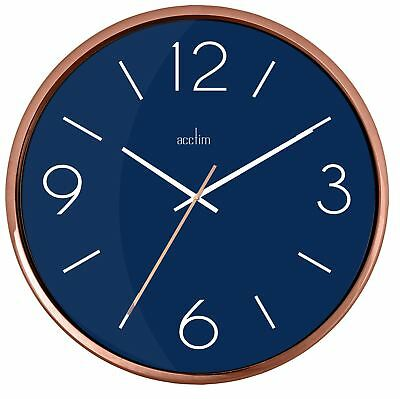 Landon Design Copper Effect Wall Clock with Navy Blue Dial 25cm By Acctim