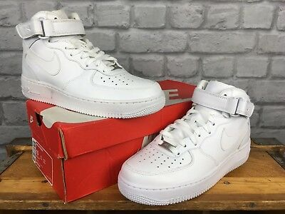 hot sale online 61e1a 52c04 NIKE AIR FORCE 1 Mens Uk 8 Eu 42.5 White Mid Basketball Boot 82 Leather  Trainers - EUR 21,38   PicClick FR