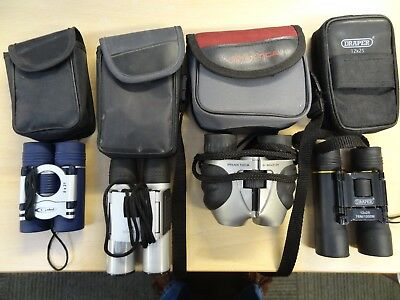 Job Lot of Four Pairs of Compact Binoculars All With Cases