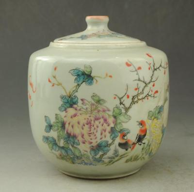 Chinese old Hand painted bird and flower pattern famille rose porcelain pot c01