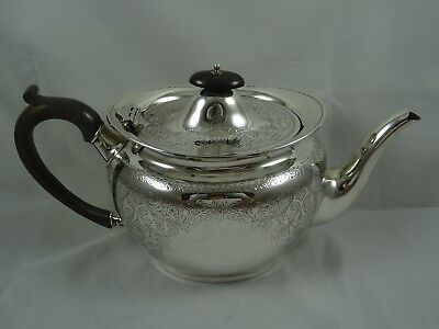 PRETTY EDWARDIAN  SOLID silver TEA POT, 1904, 635gm