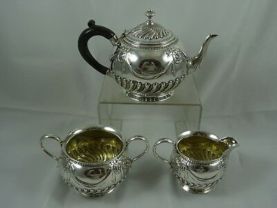 SPECIAL,  VICTORIAN `BACHELORS` solid silver TEA SET , 1879, 704gm