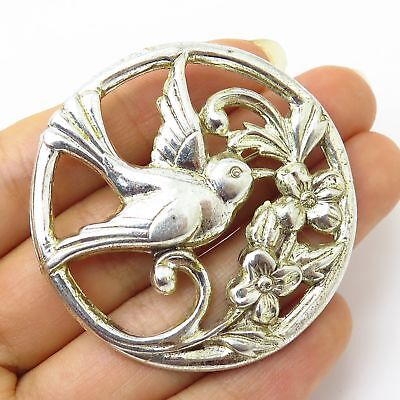 Vtg Coro 925 Sterling Silver Bird & Floral Branch Openwork Pin Brooch