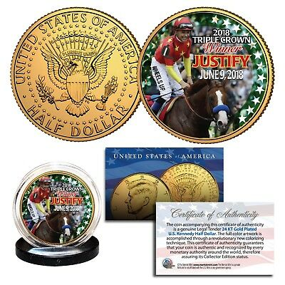 NY State Quarters 24K Gold Plated 3-Coin Set MD JUSTIFY Triple Crown KY