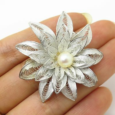 Antique Japan 925 Sterling Silver Real Pearl Floral Filigree Design Pin Brooch