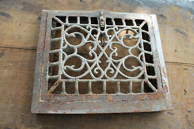Vintage 1900 Cast Iron Furnace Wall Grate Vent Ornate Victorian Antique Hardware