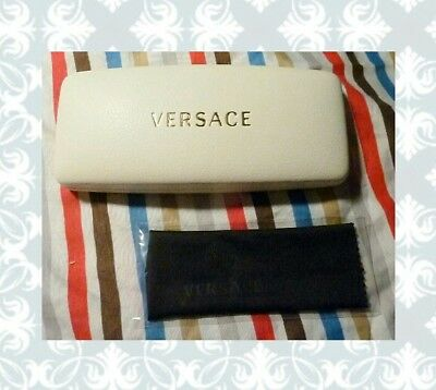 Ladies/Unisex Versace Off White w/Gold Foil Logo Clamshell Case & Cloth BRD NEW