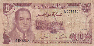 10 Dirhams Vg Banknote From  Morocco 1970!pick-57!!