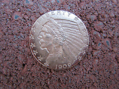 1909 US $5.00 Gold Indian $5 Half Eagle Circulated~ DAMAGED REV.~ #55S