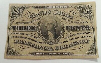 U.s. Fractional Currency ~ 3Rd Issue ~ 3 Cents ~ Vf ~ Crisp ~  Original Piece!