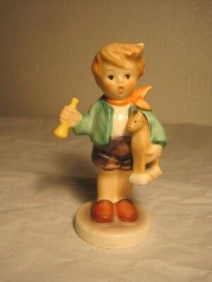 Delightful Little Goebel Hummel Figure, Boy With A Wooden Horse & Horn.tmk 6, 87