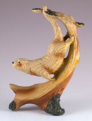 """Sea Otter Faux Carved Wood Look Figurine Resin 5"""" High New In Box!"""