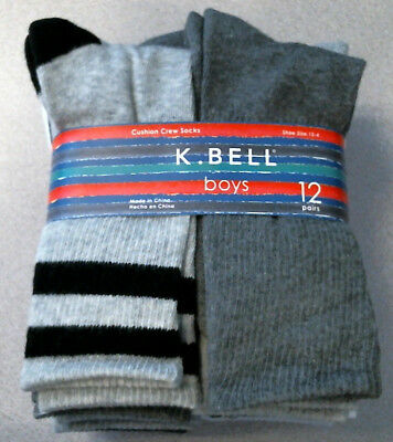 12 Pair K Bell Kids Boys Crew Socks, Grays and White, NWT, Choose Your Size