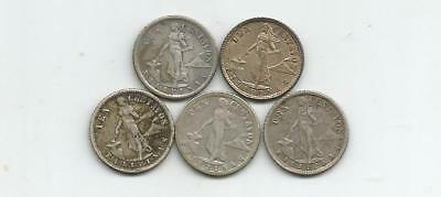 Ncoffin Us Territory Philippines 1917S 1918S 1919S 1920 & 1921 Ten Cents Silver