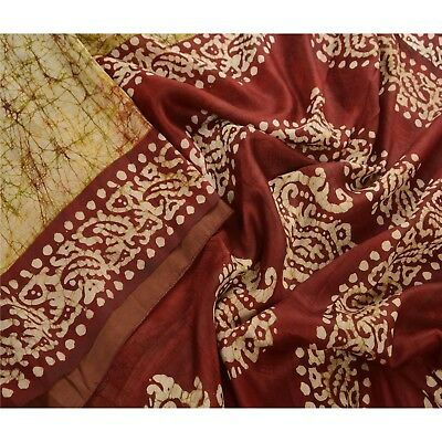 Tcw  Vintage Cream Saree Batik Work 100% Pure Silk Sari Craft Fabric