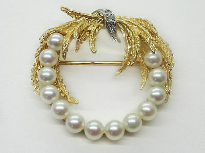 Designer Vintage 1960s Estate Pearl Diamond 14k Yellow Gold Wreath Brooch Pin