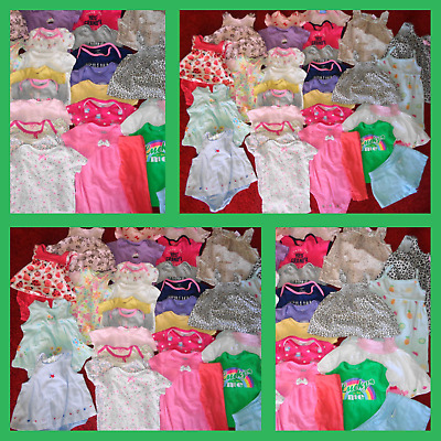 Huge 30 Pc Lot Newborn Girls Clothes Summer Dresses Carters Outfits Size 0-3 Mo.
