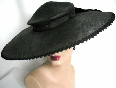Chic! Vintage 50's Black Brim Hat with Bow VG Condition!!
