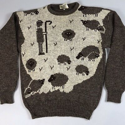 Vintage Black Sheep Wool Sweater Size Small Unisex Brown Tan Made Great Britain