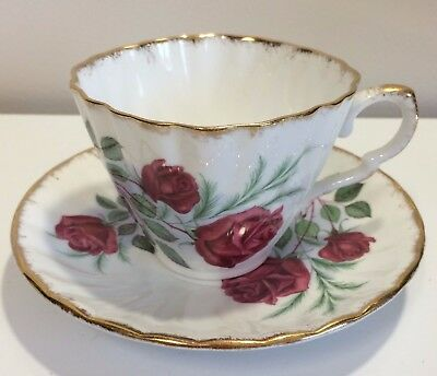 Vintage Gladstone Red Roses English Tea Cup and Saucer fine bone china fluted