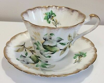 Vintage Gladstone Floral English Tea Cup and Saucer fine bone china fluted