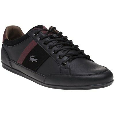 New Mens Lacoste Black Chaymon Leather Trainers Lace Up