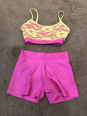 Hot Pink And Yellow Girls Intermediate Child Dance Top And Shorts