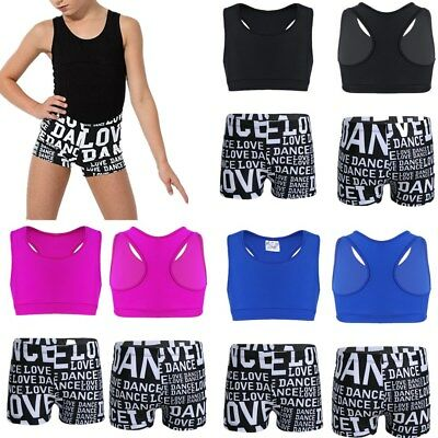 Girls Tankini Love Dance Athletic Booty Short Outfit Running Gym Workout Clothes