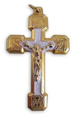 Gold Tone White Enamel Four Evangelists Stations of the Cross Crucifix, 2 Inch