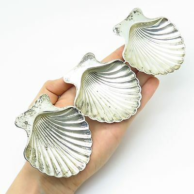 Vintage Tiffany & Co. 925 Sterling Silver Set Of 3 Seashell Design Footed Dishes