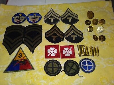Lot Ww 2 Patches Pins 4Th Army Alaska Defense 3Rd Armor 35 Inf Calvary Engineer
