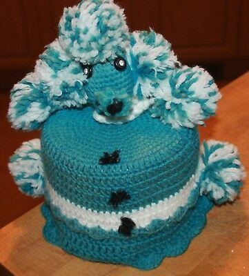 Vtg Crochet Knitted Poodle Toilet Paper Cover Turquoise Adorable!