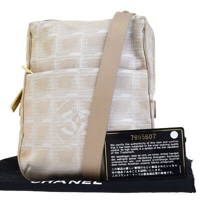 339cf4f61e0c42 Auth CHANEL CC New Travel Line Cross Body Shoulder Bag Jacquard Beige  60EG407
