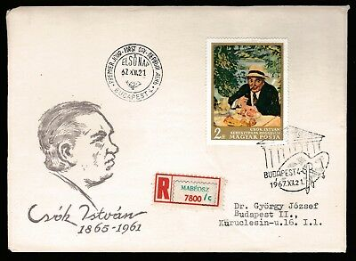1967 HUNGARY NATIONAL GALLERY PAINTINGS 2Ft DECIMAL STAMP FIRST DAY COVER #A53