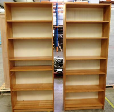 Pair of Wood Bookcases Shelf Shelving Office Library Shelves Book Study School
