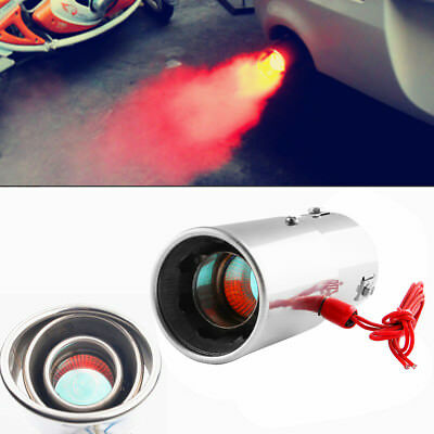 30-63mm Straight Car LED Exhaust Pipe Spitfire Red Light Flaming Muffler Tip