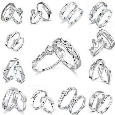 Lovers Heart Silver Crystal Couple Ring Her and His Promise Engagement Ring Band