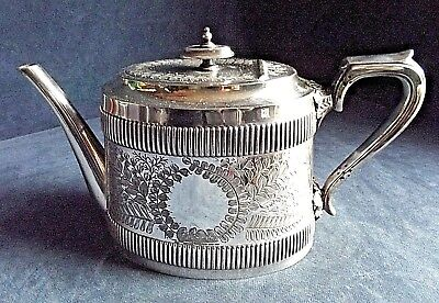 SUPERB ~ SILVER Plated ~ ORNATE Engraved TEAPOT ~ c1890 by Walker & Hall