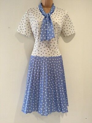 Vintage 70's Blue & White Polka Dot Scarf Neck Pleated Drop Waist Dress Size 12
