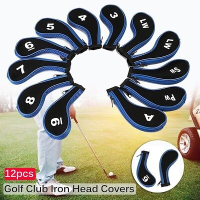 12Pcs Blue Golf Clubs Iron Head Covers Headcovers with Zipper Long Neck Gift