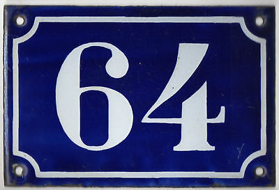 Old blue French house number 64 door gate plate plaque enamel steel sign c1900