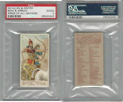 N3 Allen & Ginter, Arms of all Nations, 1887, Bow And Arrow, PSA 2 Good