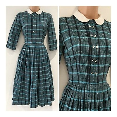 Vintage 1940's Black & Turquoise Check Print Pleated Causal WW2 Era Day Dress 8