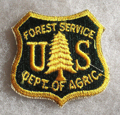 """Obsolete 60's """"forest Service Dept. Of Agric."""" Early Cut Edge Patch 2 1/2"""" Tall"""