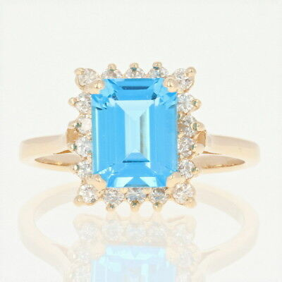 08bc7d76d 2.50 CT NATURAL (REAL) 57-DIAMOND & blue TOPAZ halo ring SOLID 14K ...