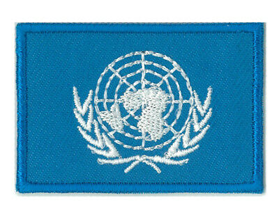 Écusson patche badge drapeau ONU Nations Unies petit 45 x 30 mm thermocollant